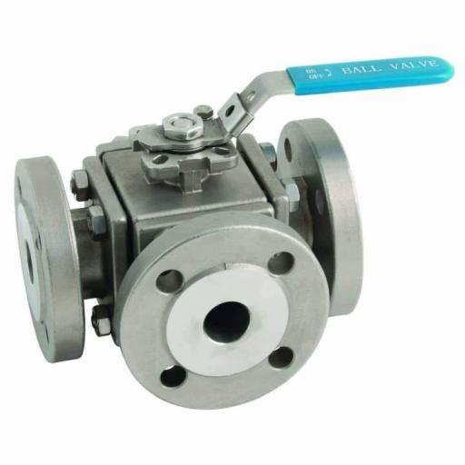PN16 Flanged Stainless Steel 3 Way Ball Valve T Port Full Bore