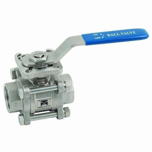 3 Piece Full Bore Stainless Steel Ball Valve Direct Mount