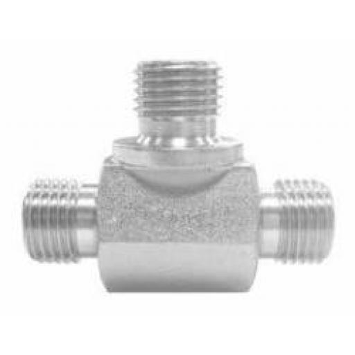 Parkair BSPP Male Cone Seat Equal Tee Hydraulic Adaptor
