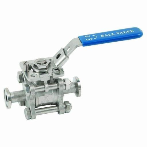 3 Piece Stainless Steel Full Bore Ball Valve Hygienic Clamp Ends