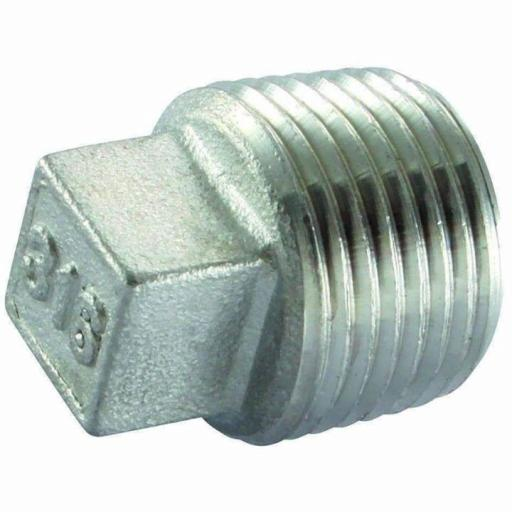 150lb Stainless Steel Square Head Plug Male