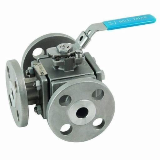 ANSI150 Flanged Stainless Steel 3 Way T Port Full Bore Ball Valve