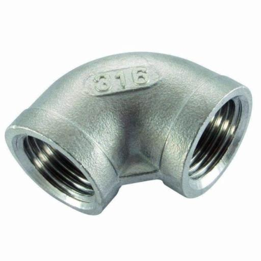150lb Stainless Steel 90° Elbow Female x Female