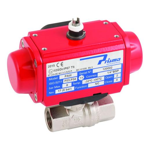 Actuated Brass WRAS Approved Full Bore Ball Valve fitted with Prisma Single Acting Actuator