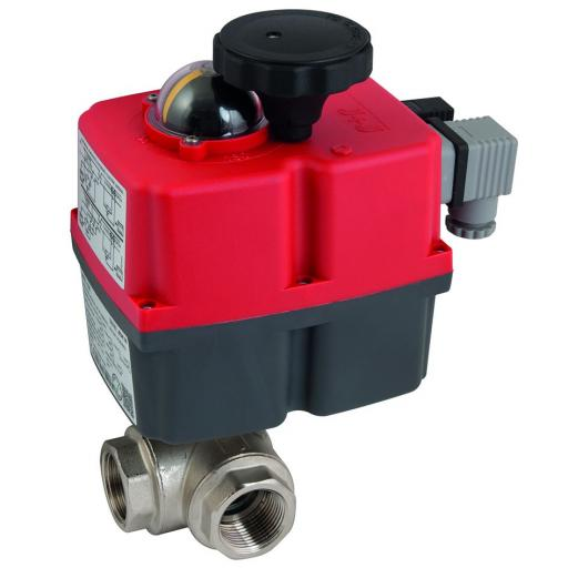 Actuated Brass 3 Way L Port Approved Full Bore Ball Valve fitted with J+J J4CS Electric Actuator
